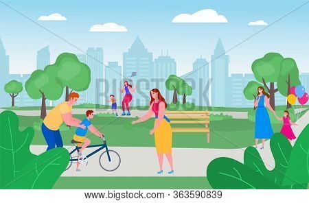 Parents With Children In Park Together, Vector Illustration. Free Time With Happy Family Outside, Le