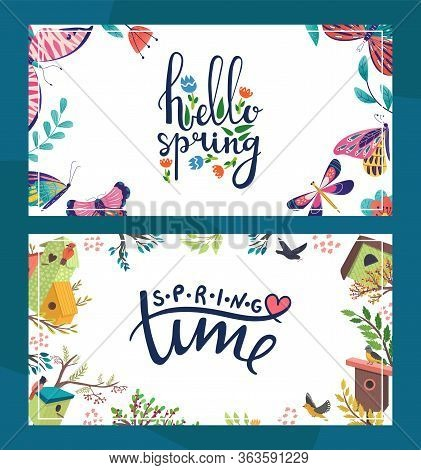 Spring Floral Postcard Vector Illustration. Hello Spring Template Poster With Decorative Butterfly.
