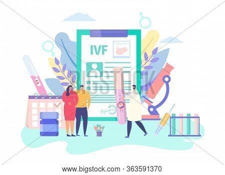 Pregnancy Ivf Technology, Concept Vector Illustration. Infertility Treatment, Artificial Inseminatio