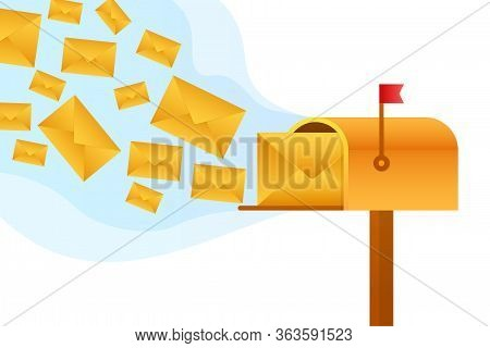 Envelope With A Newsletter Concept. Open Message With The Document. Subscribe To Newsletter Concept.