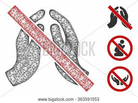Mesh No Praying Hands Polygonal Web Icon Vector Illustration. Abstraction Is Based On No Praying Han