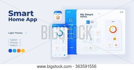 Smart Home App Screen Vector Adaptive Design Template. Iot Application Day Mode Interface With Flat