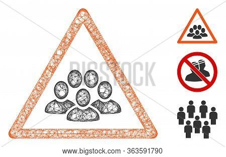 Mesh People Crowd Warning Polygonal Web Icon Vector Illustration. Carcass Model Is Created From Peop