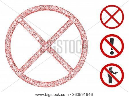 Mesh Restricted Polygonal Web 2d Vector Illustration. Model Is Based On Restricted Flat Icon. Triang