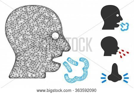 Mesh Sneeze Polygonal Web 2d Vector Illustration. Model Is Based On Sneeze Flat Icon. Triangle Netwo