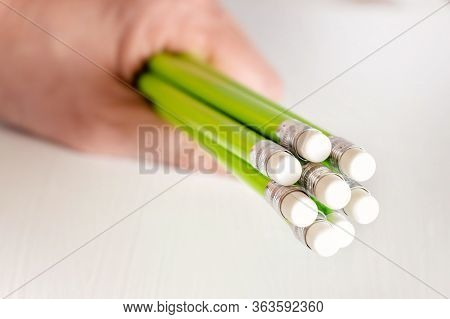 In Your Hand, Green Pencils With Elastic Bands Eraser At The End, For Erasing After Drawing With A P