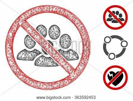 Mesh Stop People Crowd Polygonal Web 2d Vector Illustration. Carcass Model Is Created From Stop Peop