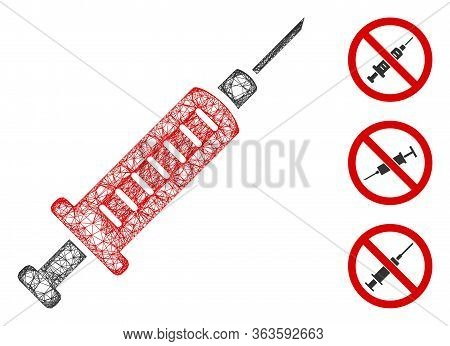 Mesh Syringe Polygonal Web 2d Vector Illustration. Carcass Model Is Based On Syringe Flat Icon. Tria