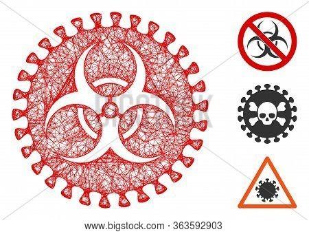 Mesh Virus Hazard Polygonal Web Icon Vector Illustration. Model Is Created From Virus Hazard Flat Ic