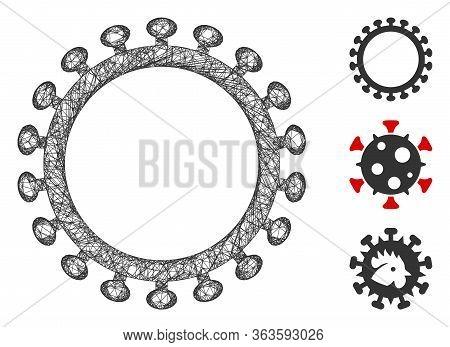 Mesh Virus Shell Polygonal Web Icon Vector Illustration. Carcass Model Is Created From Virus Shell F