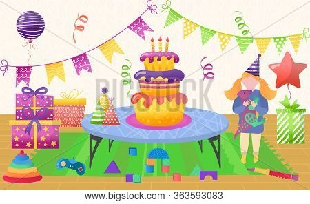 Waiting Guests For Home Birthday Party, Vector Illustration. Decorate Room For Celebration Event, Ba