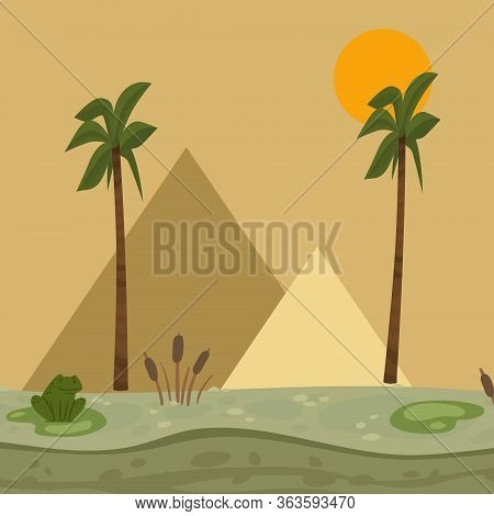 Egypt Landscape, Pyramid Vector Illustration. Africa Nature, Swamp With Water Lilies, Frog, Reeds. F