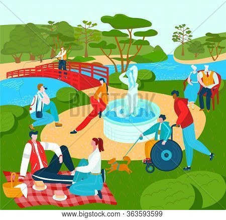 Recreation For People In Park, Summer Lyfestyle Rest Outdoor In Nature, City Sport And Leisure Vecto