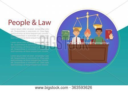 Law And Judges Concept With House Of Justice, Trial By Jury, Honest Judge With Bible And Law Book Ca