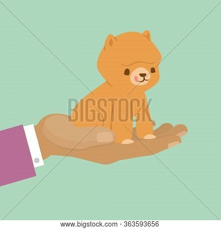 Pet Kitten For Gift, Cute Cat On Hand For Present Or Adopt Pet Concept Vector Illustration. Cat Pet