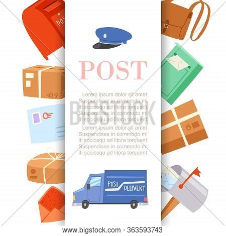 Post Office Letters And Parcels Delivery Service Poster With Postal Card, Postmans Cap And Truck Car