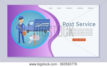 Post Service Letters And Parcels Delivery Web Template With Postal Car, Postman Cartoon Vector Illus
