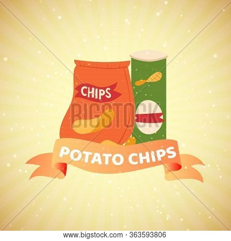 Pouch Of Potato Chips With Banner On Retro Background For Fastfood Cafe Vector Illustration. Bag Of