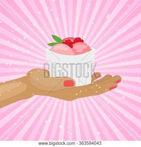 Raspberry Icecream With Fresh Berries Sorbet In White Mug On Vintage Rose Background Cartoon Vector