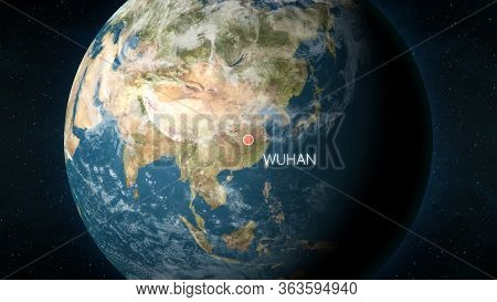 Location Of The City Of Wuhan, China On Globe Seen From Space. 3d Illustration