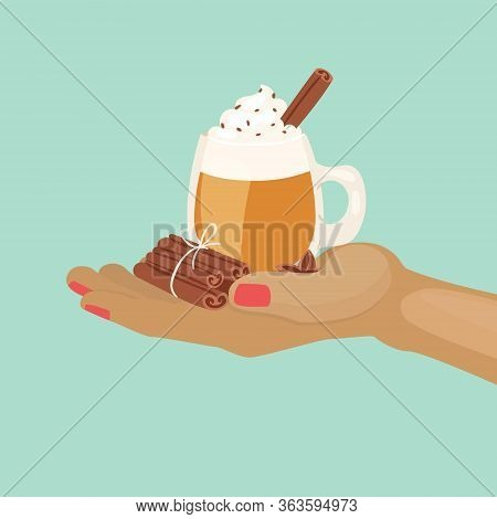 Cup Of Cacao Or Coffee With Chocolate And Whipped Cream And Cinnamon On Hand Cartoon Vector Illustra