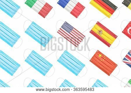 Flags Of Countries In The Form Of Medical Masks That Are Most Affected By Coronavirus. Usa, China, I
