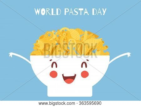 World Pasta Day Vector Cartoon Illustration With Noodles Italian Spaghetti Or Boiled Pasta In Cute B