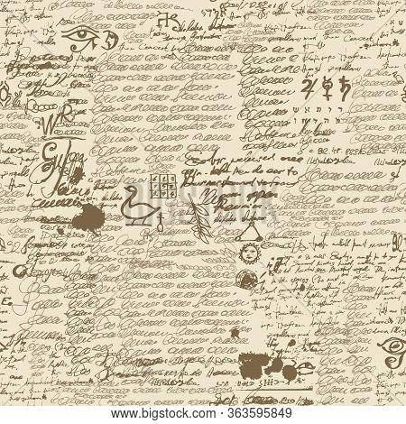 Vector Texture, Seamless Pattern With Unreadable Handwritten Text And Blots. Repeatable Background W