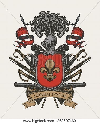 Vector Heraldic Coat Of Arms In Vintage Style With Knightly Shield, Helmet, Spears, Sabers, Cannons,