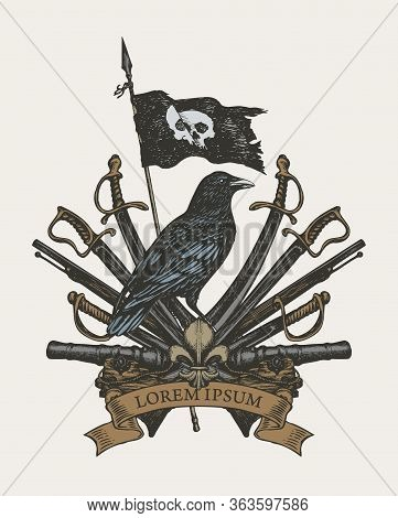 Vector Heraldic Coat Of Arms In Vintage Style With Black Raven, Pirate Flag, Sabers, Swords, Cannons