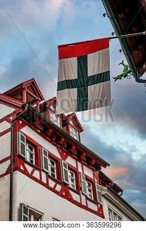 Flag Of Konstanz Against Half-timbered Historical House In The Center Of Konstanz City, Baden-wurtte