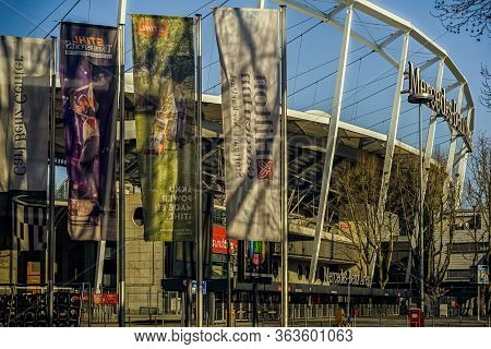 Stuttgart,germany - April 01,2020:bad Cannstatt This Is The Big Soccer Stadiun Mercedes-benz-arena,