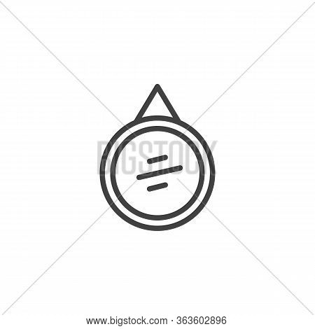 Circle Frame Mirror Line Icon. Linear Style Sign For Mobile Concept And Web Design. Wall Mirror With