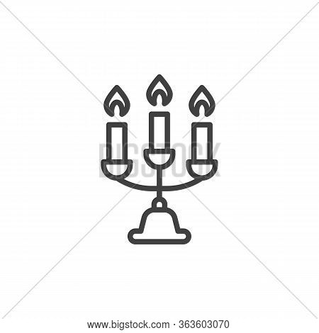 Candelabra With Candle Line Icon. Linear Style Sign For Mobile Concept And Web Design. Burning Candl