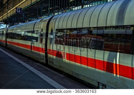 Stuttgart,germany - April 09,2020:main Station This Is A Dirty,old Ice Of The German Company Deutsch