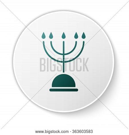 Green Hanukkah Menorah Icon Isolated On White Background. Hanukkah Traditional Symbol. Holiday Relig