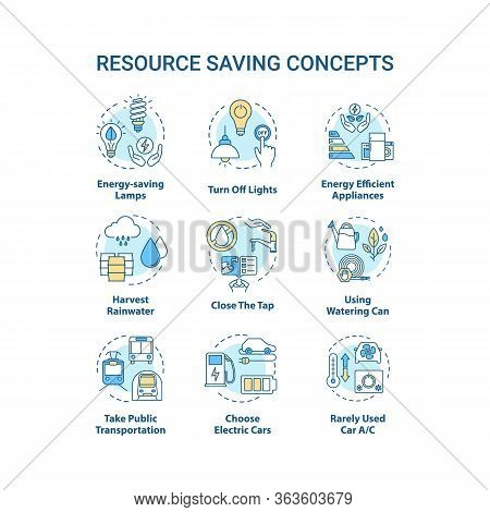 Resource Saving Concept Icons Set. Sustainable Technology. Efficient Consumption. Reduce Supply Usag