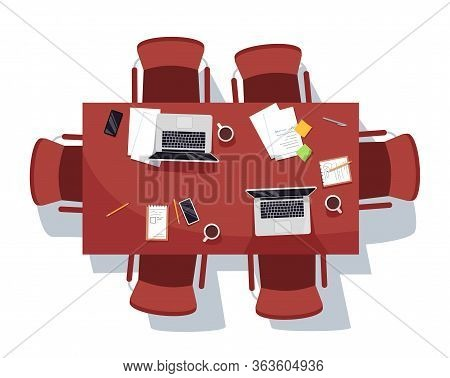 Empty Meeting Room Semi Flat Rgb Color Vector Illustration. Conference Coffee Break. Documents And C