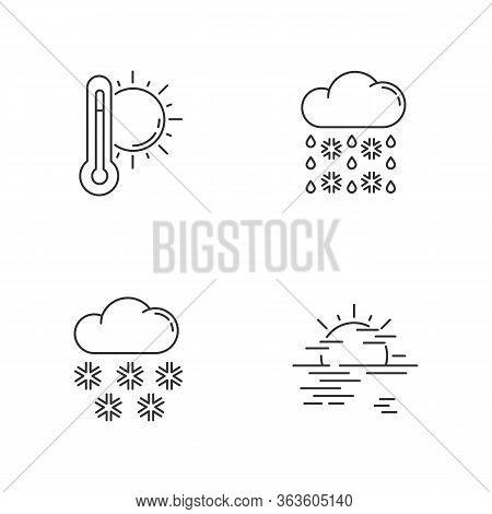 Temperature And Precipitation Forecast Pixel Perfect Linear Icons Set. Seasonal Weather Prediction C