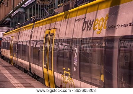 Stuttgart,germany - April 09,2020:main Station This Is A Modern,local Train Line Of The New Transpor