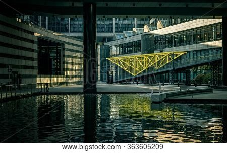 Stuttgart,germany - April 09,2020:europe District This Is The Big Outdoor Area Of The Modern Office