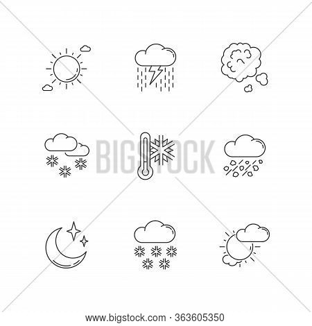 Sky Clarity And Precipitation Pixel Perfect Linear Icons Set. Seasonal Weather Forecast, Meteorologi