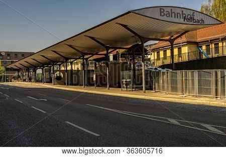 Fellbach,germany - April 10,2020:eisenbahnstrasse This Is The Train Station Of The Town,which Is A M