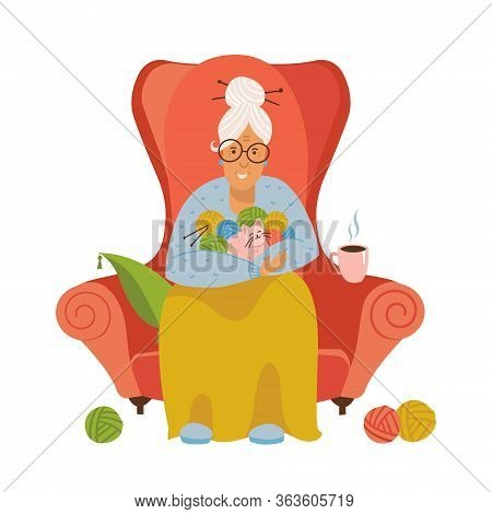 Knitting. Old Female Sitting In A Cozy Armchair Knitting. Isolated Flat Vector Illustration Of A Gra