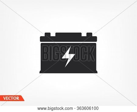 Car Battery Icon. Battery For Car. Eps 10 Vector Flat Design. The Work Is Done For Your Use For Your