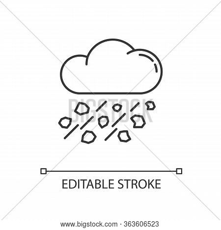 Mixed Rain Pixel Perfect Linear Icon. Hailstorm, Meteorology Thin Line Customizable Illustration. Co