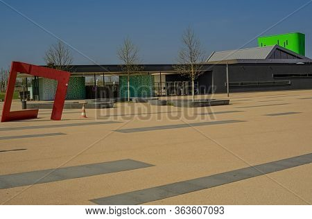 Fellbach,germany - April 10,2020:esslinger Strasse This Is The Modern Public Swimming Pool Of The Ci