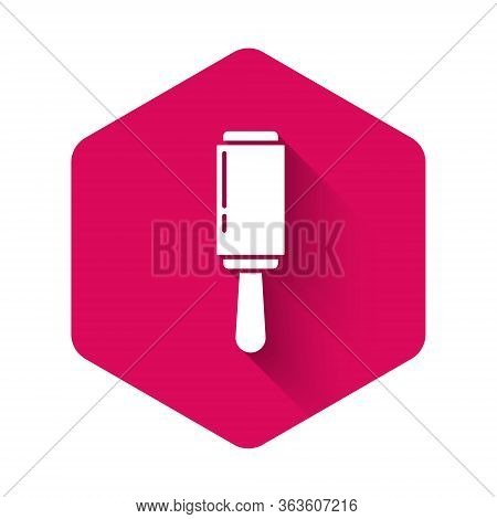 White Adhesive Roller For Cleaning Clothes Icon Isolated With Long Shadow. Getting Rid Of Debris, Du