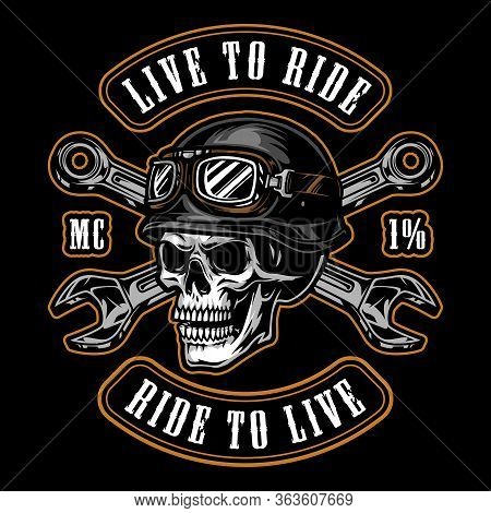 Colorful Motorcycle Vintage Emblem With Skull In Biker Helmet And Crossed Wrenches Isolated Vector I
