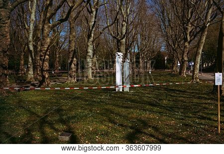 Goeppingen,germany - April 11,2020:park The Small Park In Front Of The Old Cemetary Was Closed Throu